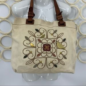 Fossil canvas brass Partridge in a pear tree tote